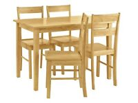 Chicago Solid Wood Table & 4 Chairs - Natural