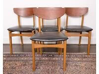 Four danish style mid-century chairs