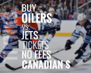 Oilers vs Jets tickets! Dec 31st We're like Ticketmaster/StubHub but no fees, CA$, cheaper 5% off for new customers