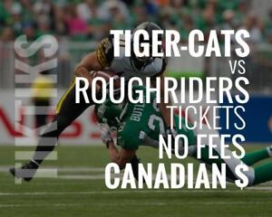 Tiger-Cats vs Roughriders Tickets July 19th Tim Hortons Field. Canadian $, no fees, awesome customer, local company!