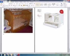 Pine Mamas & Papas Cot bed with under bed drawer & changing station £100 (rrp £429)