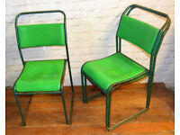 40 available green stacking vintage chairs antique dining kitchen industrial restaurant retro cafe