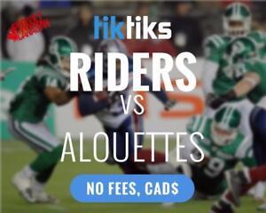 Roughriders vs. Alouettes Oct 27th. Cheaper than StubHub/Ticketmaster - No Fees, CAD$, Money back guarantee