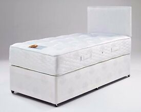 "***DECENT QUALITY*** Brand New Single Divan Bed With 9"" Thick Deep Quilted Mattress="