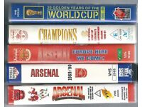 5 Football VHS PAL Video Tapes / Arsenal / World Cup / Very good condition
