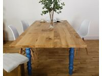 Extendable Oak Farmhouse Table Solid Characterful Rustic Modern Dining Kitchen Table Extending