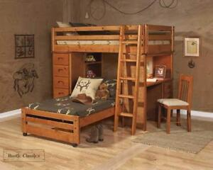 FREE shipping in Montreal! Pine Twin Over Twin Loft Bed In Amber Wash!