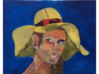 Art – original painting in acrylics on canvas of lady in a hat