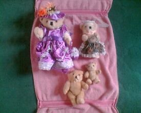 4 TEDDY BEARS COLLECTABLE - HANDMADE VICTORIAN DRESS/APRON - JOB LOT