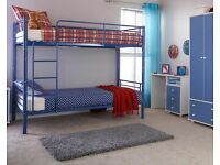 METAL BUNK BEDS WITH MATTRESSES INCLUDED - PINK BLUE WHITE OR SILVER