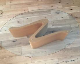 Hatfields oak and glass coffee table