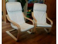 2 x kids Ikea Poang chairs