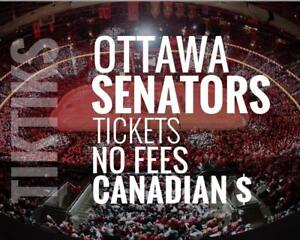 Ottawa Senators Tickets - All Home Games - Easy to understand pricing because, NO FEES and in Canadian Dollars!