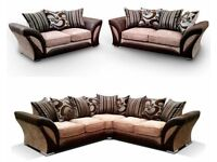 class of quality-SHANNON SOFA FABRIC And FAUX LEATHER LEFT OR RIGHT CORNER - 3+2 SEATER