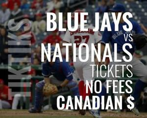 Blue Jays vs Nationals Tickets! June 15-17 No fees, CAD$ and cheaper than StubHub/Ticketmaster! 5% off for new customers