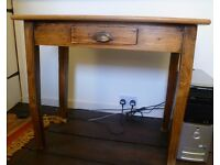 Old pine desk with centre drawer