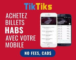 Montreal Canadiens billets tickets. All home games. Pay NO FEES, CAD$, INSTANTLY and SECURELY.