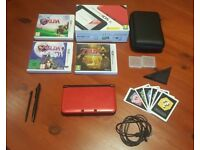 Nintendo 3DS XL Red, with 3 Zelda games, case and accessories
