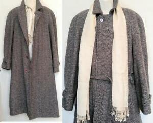 Oakville L 42 44 Mens Vintage Wool Tweed Coat  Made in Canada By Cambridge & Free Irish Scarf gray black brown