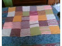 BABIES PATCHWORK BLANKET - HAND KNITTED - NEW & UNUSED