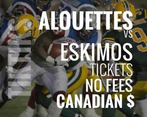 Alouettes vs Eskimos Tickets July 26 Percival Molson Stadium. Canadian $, no fees, awesome customer, local company!