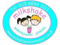 NVQL3/Early Years Practitioner required for Milkshake Montessori Nursery School