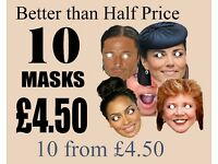 Personalised Face Mask KIT for 10 Masks Eyes Cut Out, You cut out face and fit elastic. OR Finished