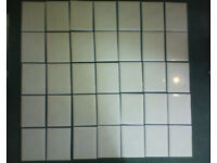 35 new ceramic wall tiles, cream with hint of peach, 15 x 20 cm.