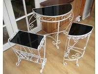 wrought iron glass topped table, plant stand, magazine rack set