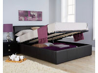 Ascot brown Leather Ottoman bed Frame Double