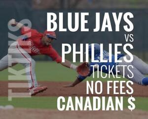 Blue Jays vs Phillies Tickets! Aug 24 - 26 No fees, CAD$ and cheaper than StubHub/Ticketmaster! 5% off for new customers