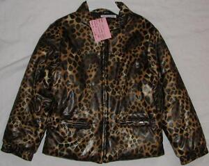 Size 6X Girls TCP Faux Leather Winter Animal Print Coat