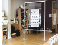 Free standing advertising display stands in Brushed steel frames room to insert 12 images/pictures