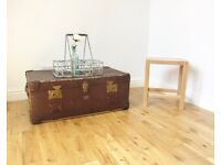 Leather-bound Travelling Trunk / Coffee Table / Storage Chest