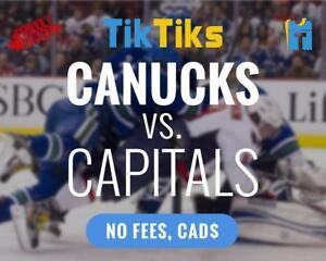 Canucks vs Capitals Oct 26th - Cheaper than StubHub/Ticketmaster - No Fees, CAD$, Money back guarantee