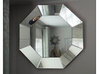 LARGE WALL HEXIGON MIRROR 3ft DIAMETER