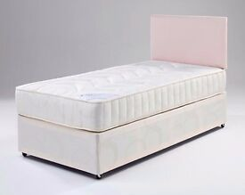 FREE & FAST DELIVERY ==BRAND NEW SINGLE DIVAN BED WITH DUAL-SIDED DEEP QUILT MATTRESS