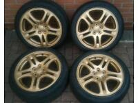 Stunning Genuine Subaru Impreza WRX/STi Metallic Gold 17Inch 5x100 Alloys Uniroyal Rainsport2 Tyres