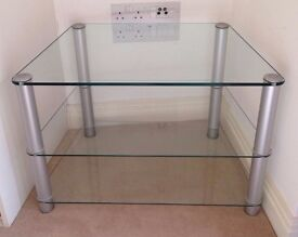 Chrome and Glass TV Stand, for medium size TVs