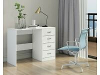 White Dressing Table Vanity Computer Study Desk with High Gloss Drawer Fronts