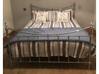 Beautiful NEXT king size chrome bed frame with crystal finnials in perfect condition