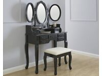 Arabella Black Traditional Dressing Table With Stool Full Set