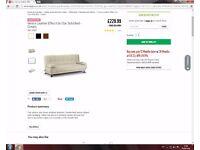 230£ Brand New Venice Leather Effect Clic Clac Sofa Bed - Cream