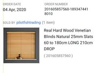 REAL HARD WOOD BLIND (NATURAL) COLOUR - BRAND NEW IN SEALED BOX