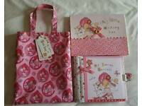 New Emily Button tote bag secret journal and writing set