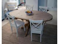 4 INGOLF IKEA chairs and solid wood pedals table
