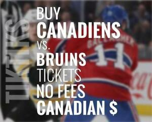 Canadiens vs Bruins Jan 30 tickets! We're like Ticketmaster/StubHub but no fees, CA$, cheaper. $10 off for new customers