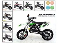 Mini Dirt Bike 50cc FunBikes MXR Kids Scrambler Moto Motor Petrol Pit Motocross