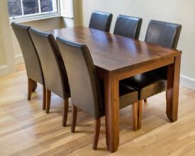 Solid Wood Dining Table & 6 Matching Chairs