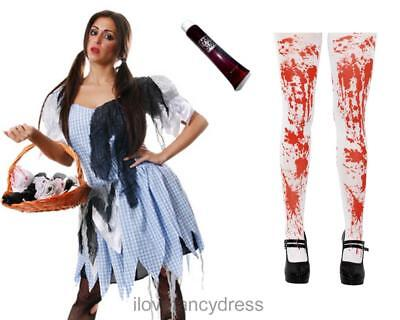 ZOMBIE DOROTHY COSTUME ADULT HALLOWEEN DEAD FAIRYTALE FANCY DRESS COUNTRY GRIL (Dead Dorothy Halloween Costume)